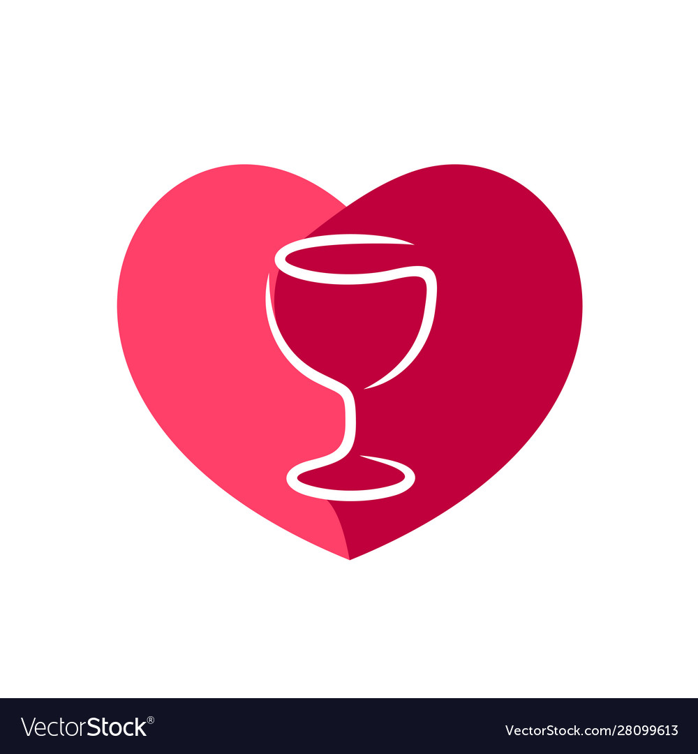 Red wine glass with heart shape figure behind