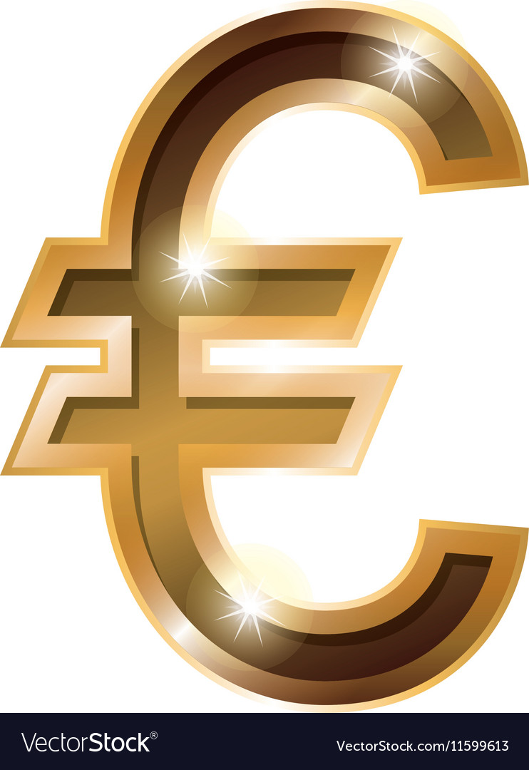 Silhouette With Currency Symbol Of Euro In Golden Vector Image