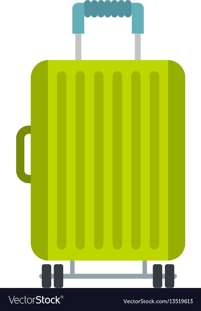 Suitcase on wheels icon flat style