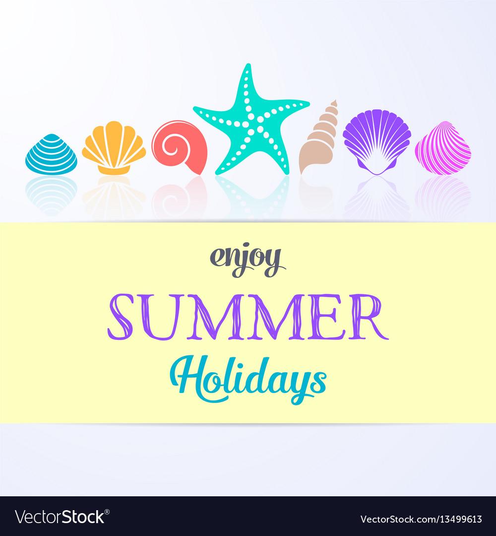 Summer holidays card with sea shells