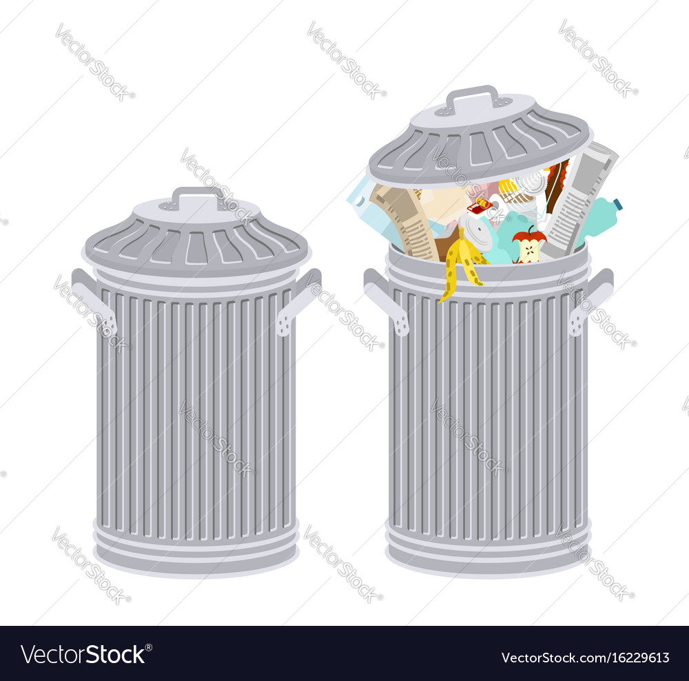 Trash can with rubbish isolated wheelie bin with vector image