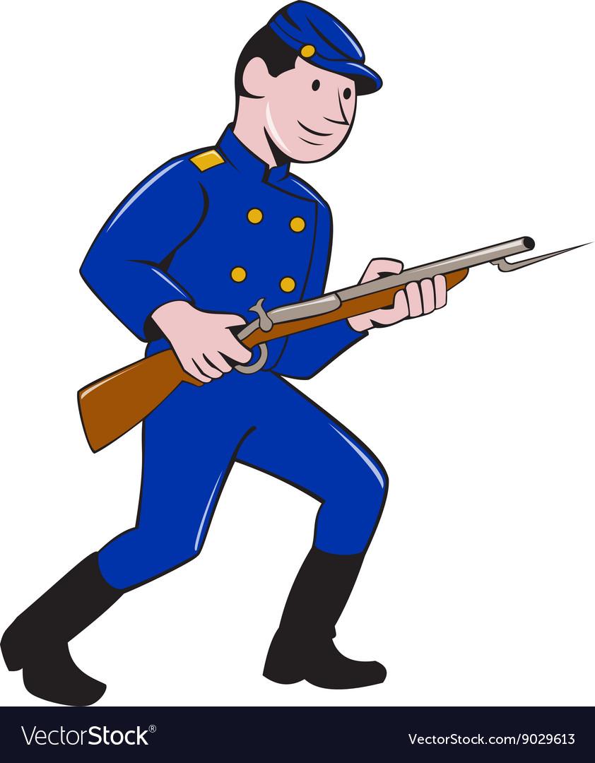 Union Army Soldier Bayonet Rifle Cartoon
