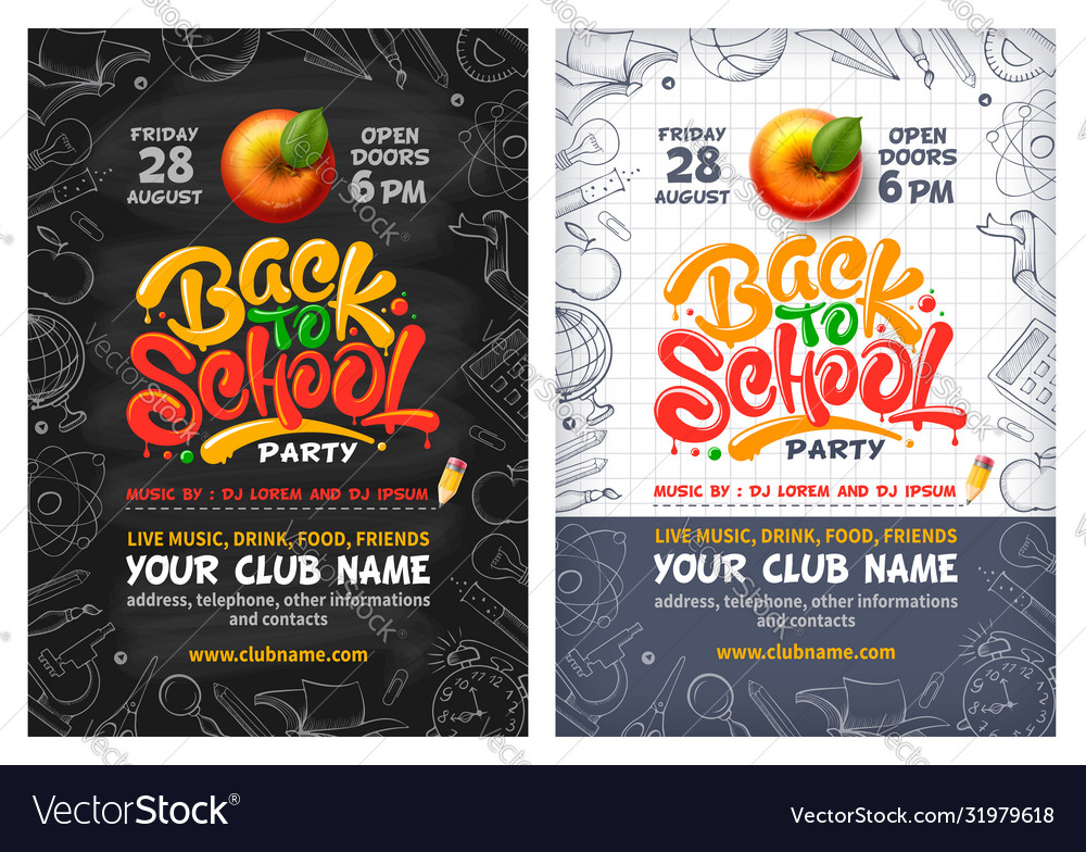 Back to school party poster or flyer with red