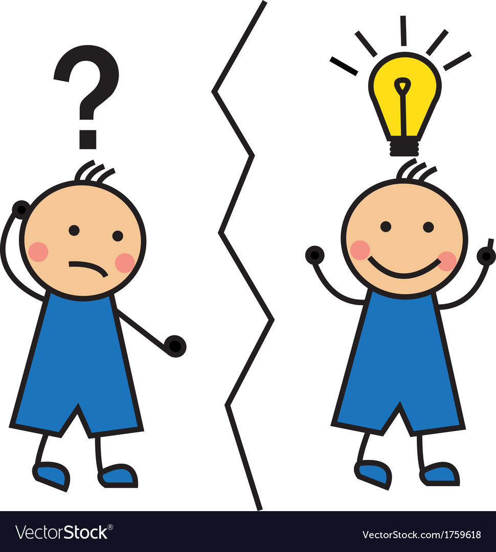 Cartoon Man With A Question Mark And A Light Bulb Vector Image