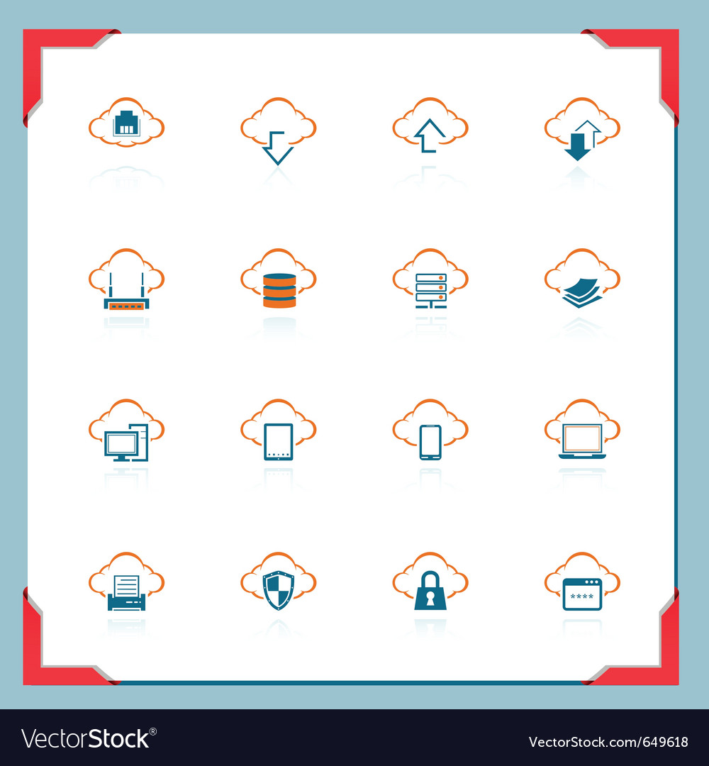 Cloud computing in a frame series vector image