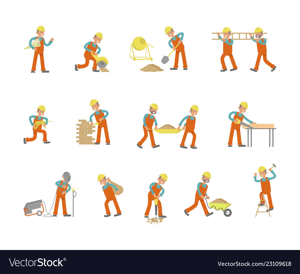 Construction worker character in various poses