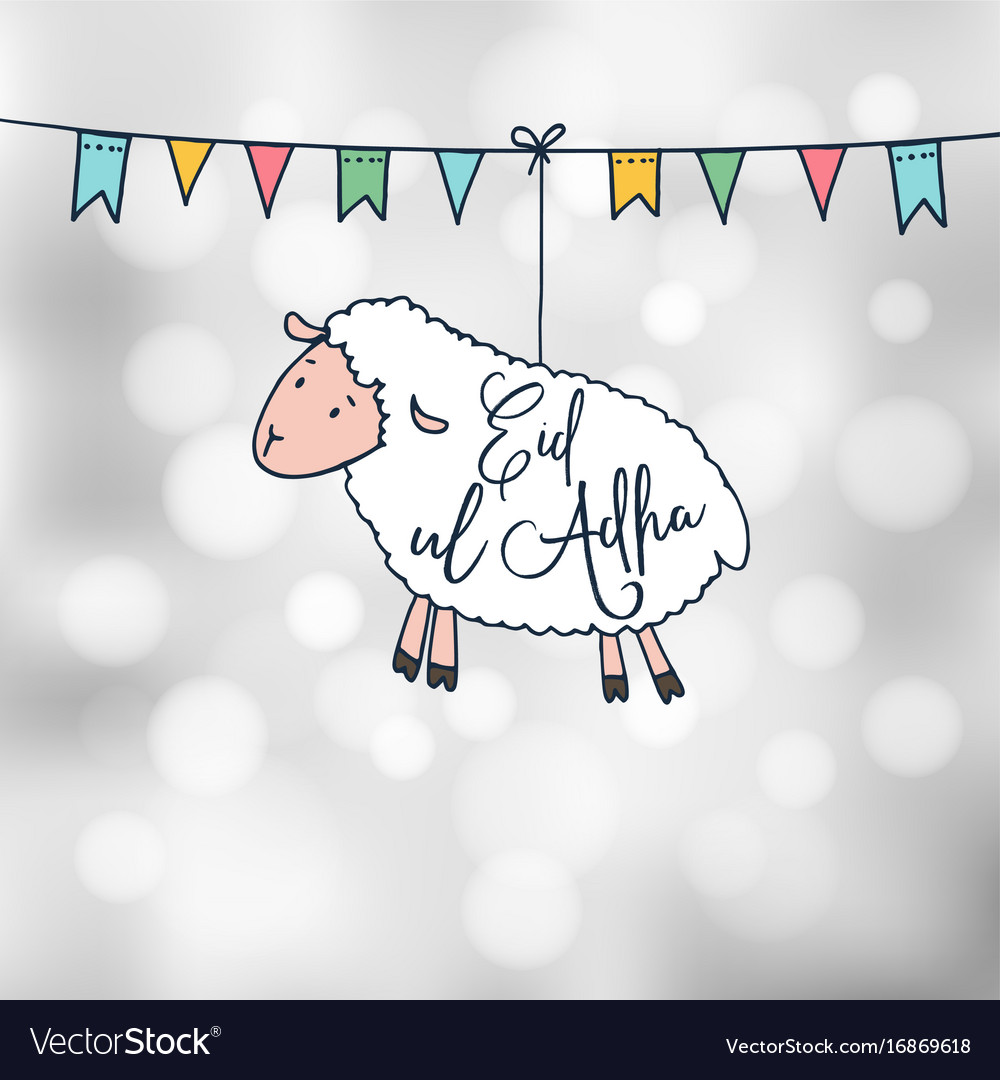 Eid-ul-adha greeting card with hand drawn sheep vector image