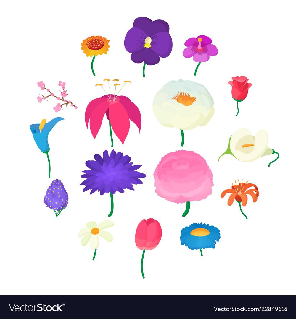 Flower icons set cartoon style