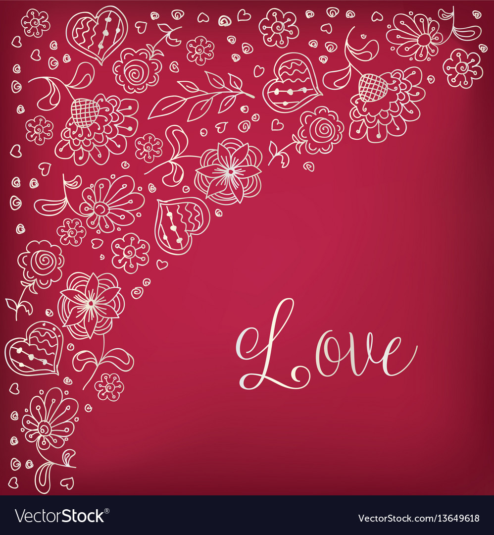 Freehand drawing flowers doodle heart background