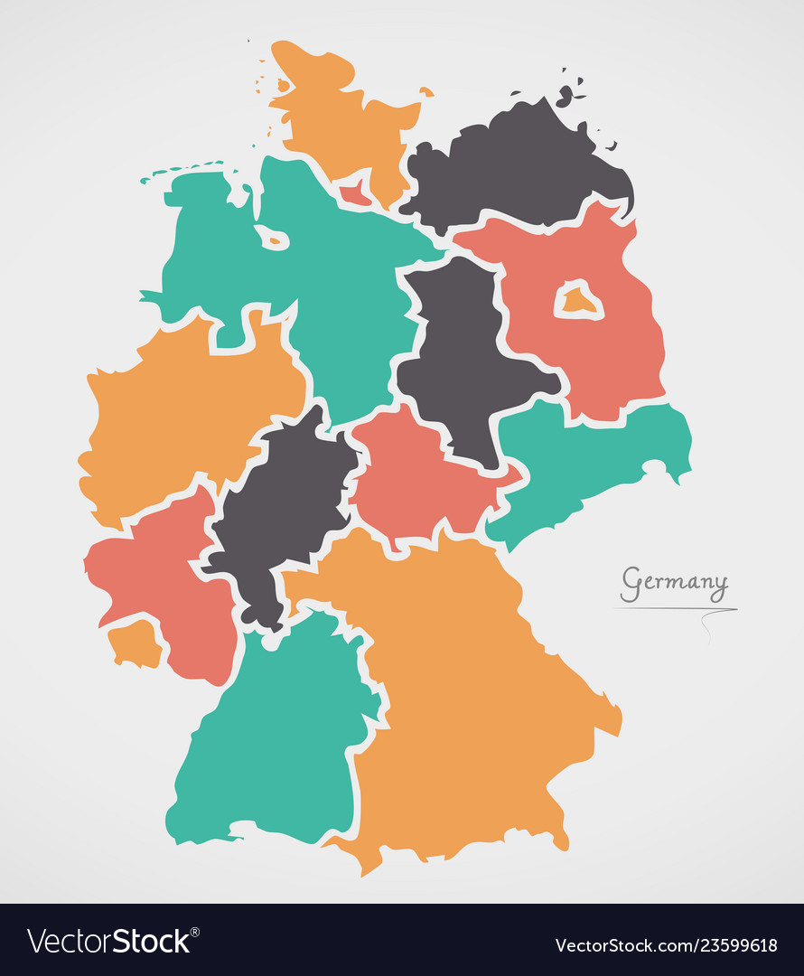 Germany Map Of States.Germany Map With States And Modern Round Shapes