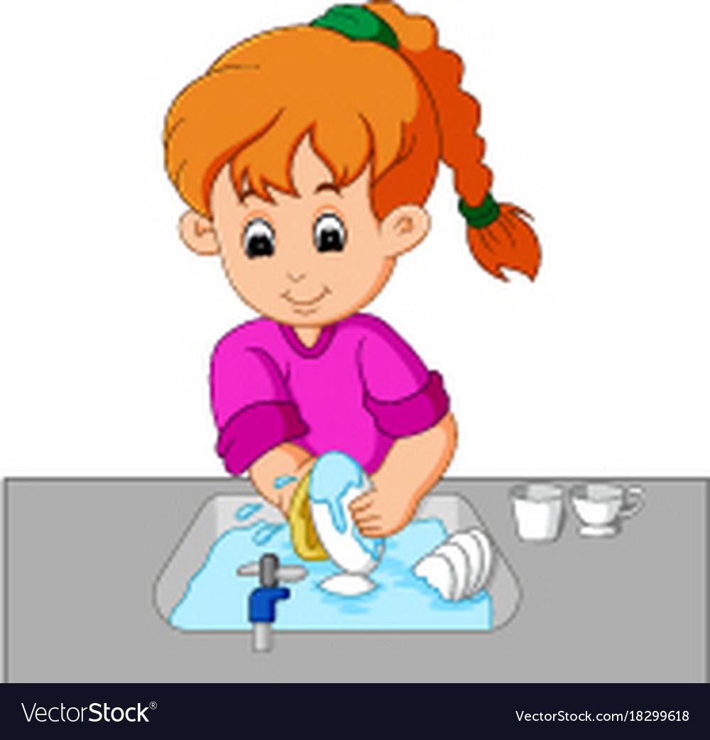 Best Washing Dishes Illustrations Royalty Free Vector: Girl Washing The Dishes Royalty Free Vector Image