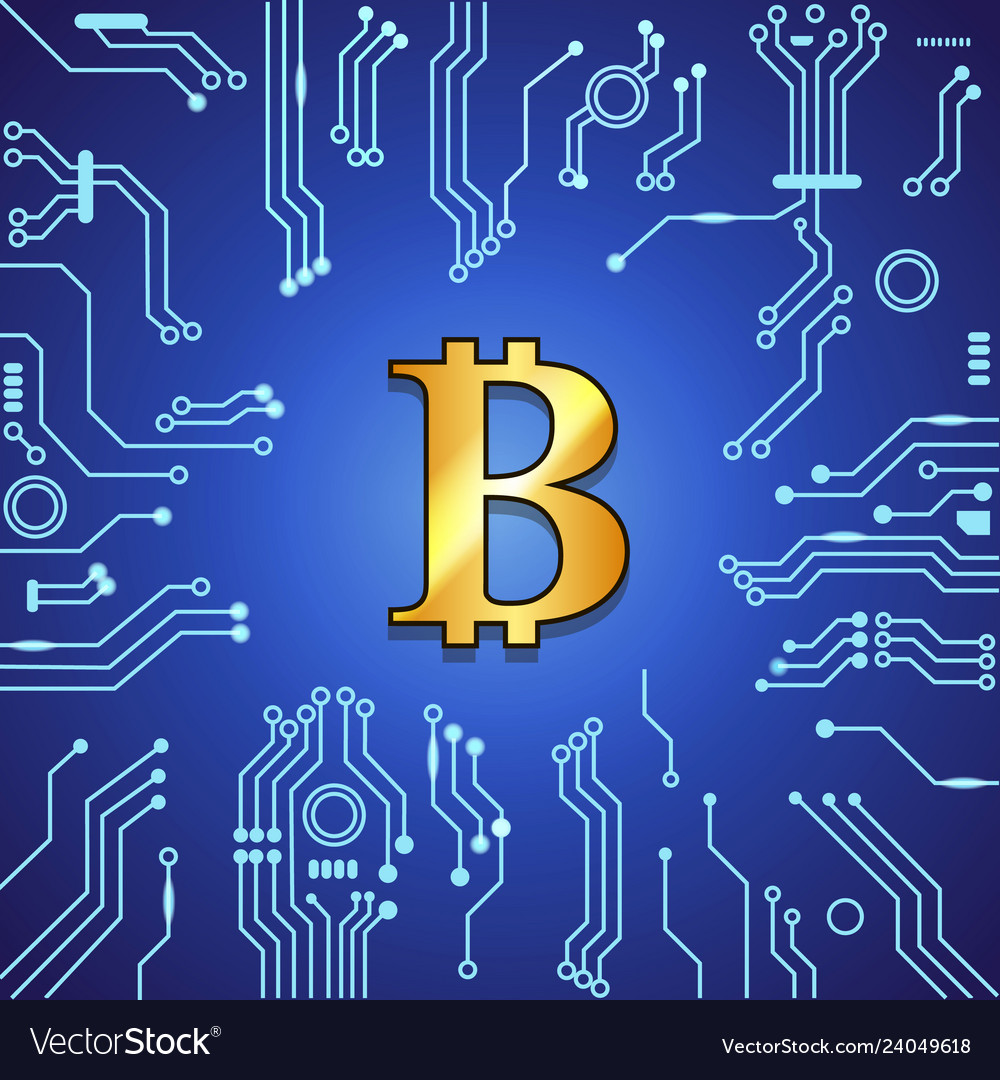 Golden bitcoin currency on blue background