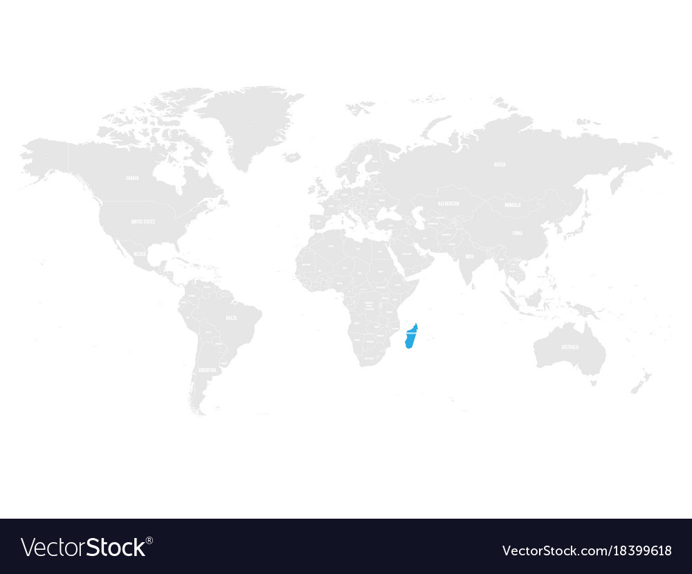Madagascar marked by blue in grey world political
