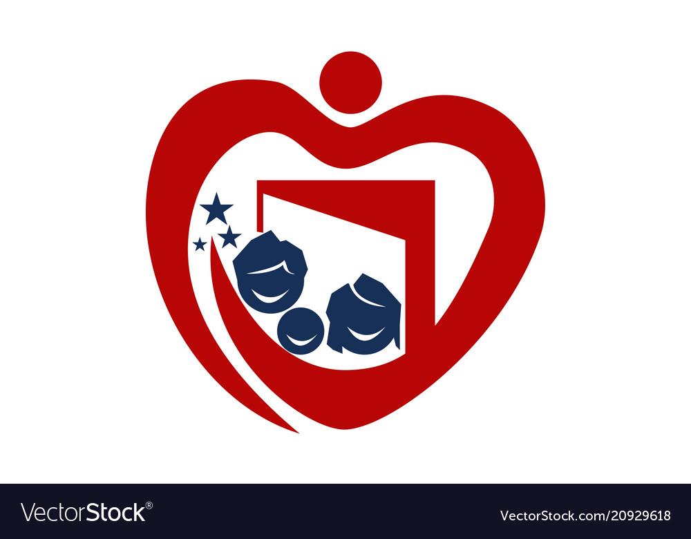 Parenting love logo design template vector image