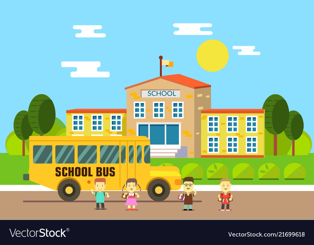 School bus school education and science concept