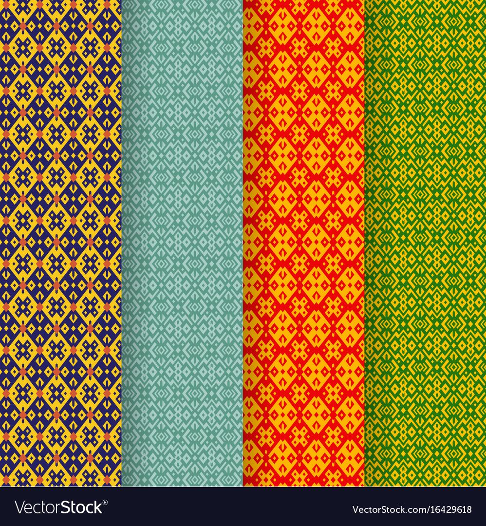 Set of batik seamless pattern in tribal asia style