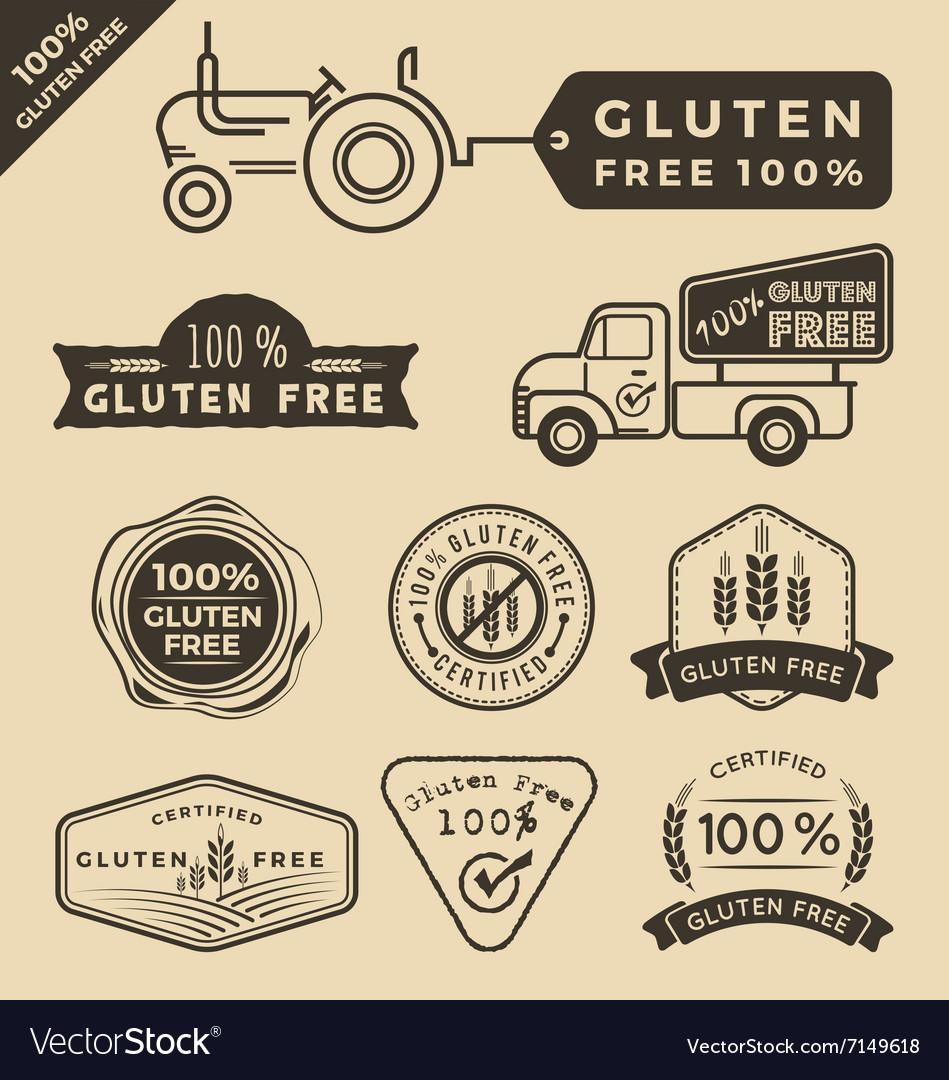 Set of gluten free food certified label logo