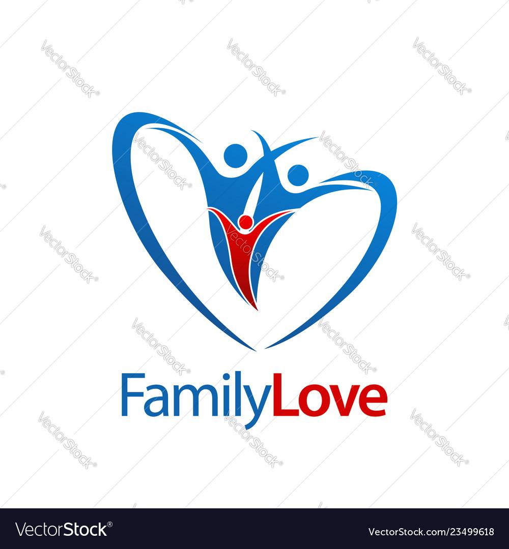 Three human family love logo concept design