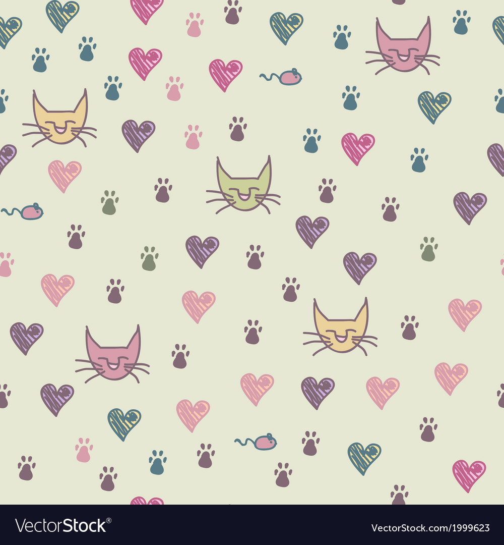 A seamless pattern of cats footprint
