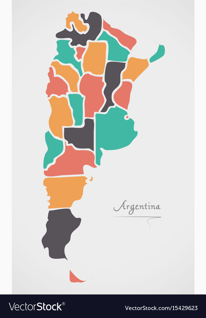 Argentina map with states and modern round shapes