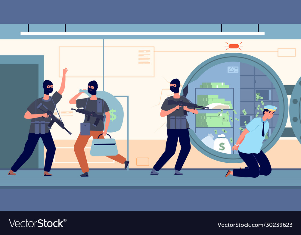 Bank robbery banking robbers with money cartoon