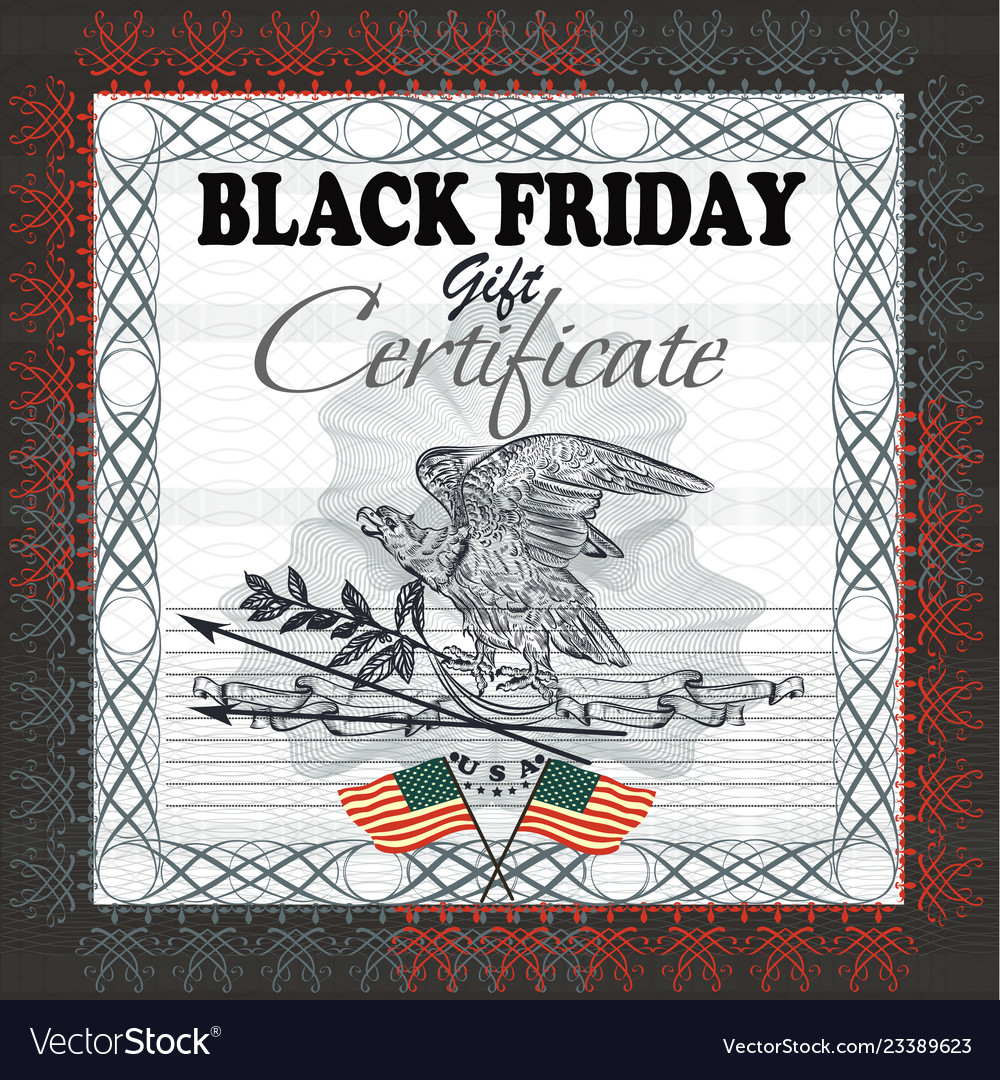 Black friday gift certificate with flag usa eagle