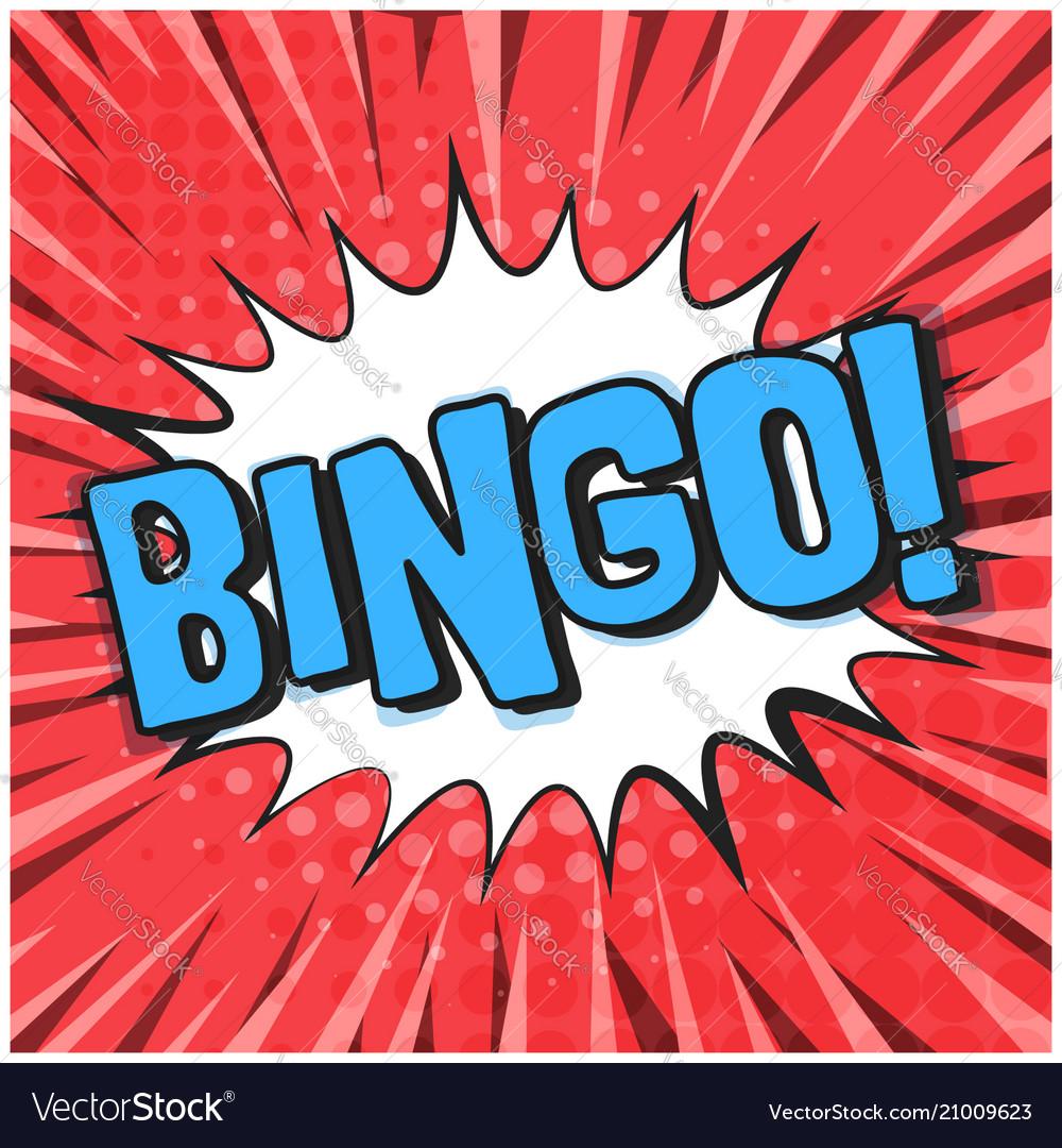 Bright red retro comic speech bubble with bingo