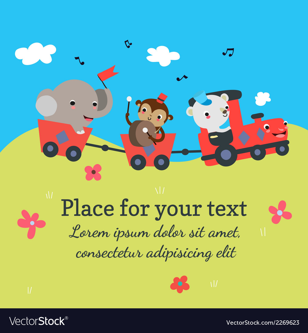 Cartoon train with animals vector image