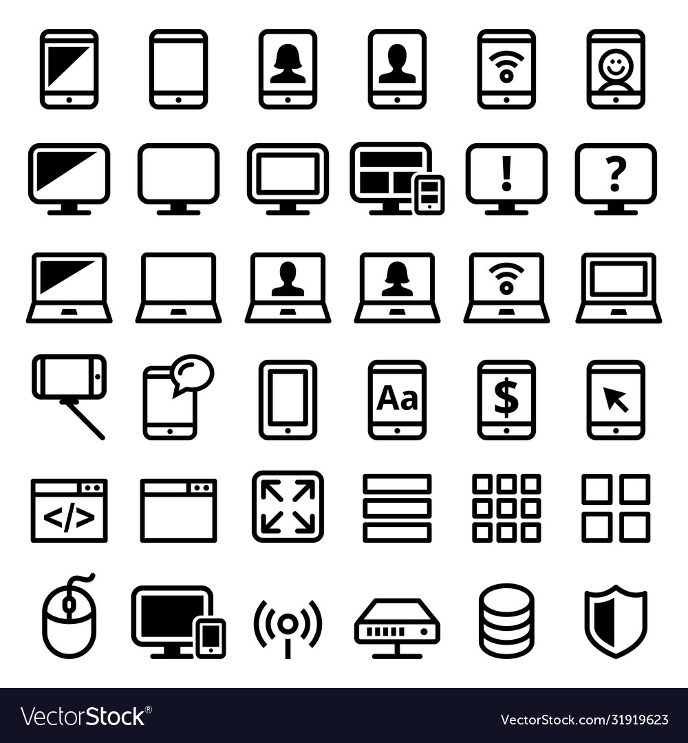 Computer smartphone laptop line icons set