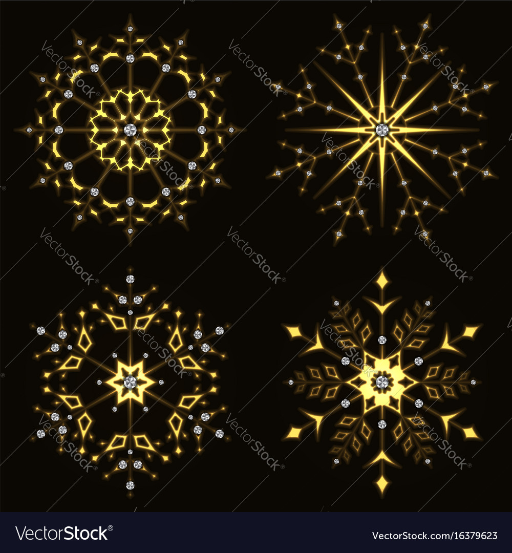 Gold shining snowflake