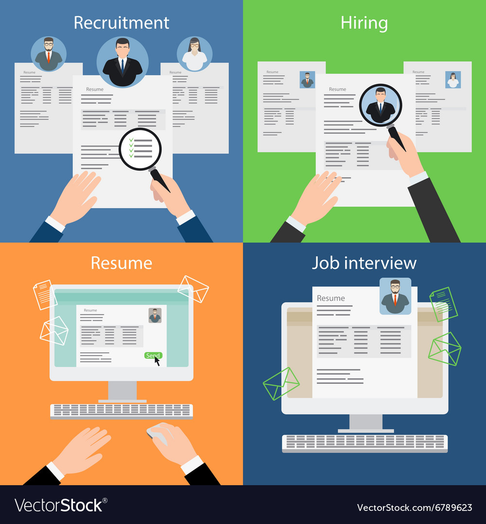 Hiring recruiting resume and interview vector image
