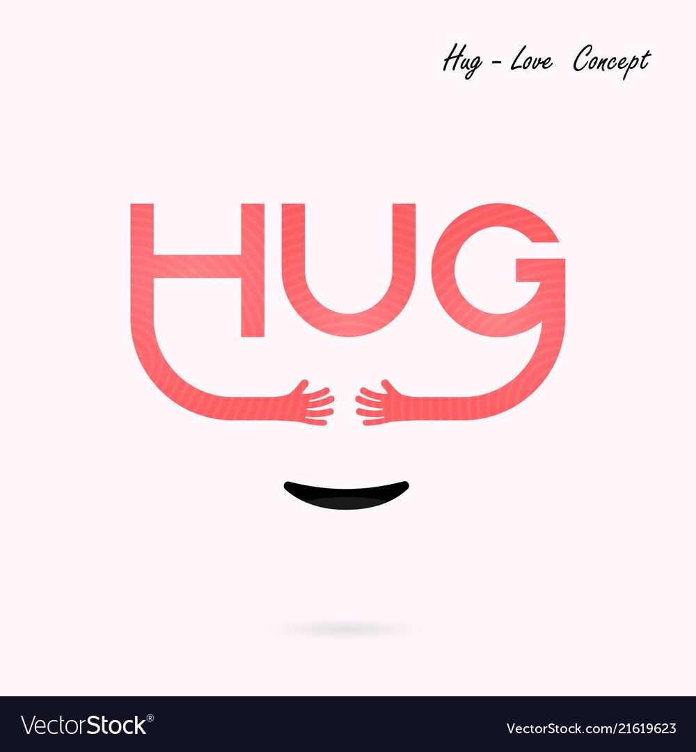 Hug typographical and hand iconembrace or hug