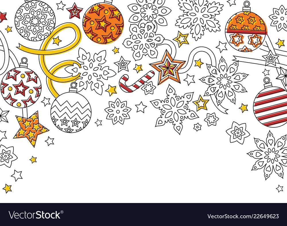 New year background with doodle snowflakes fir
