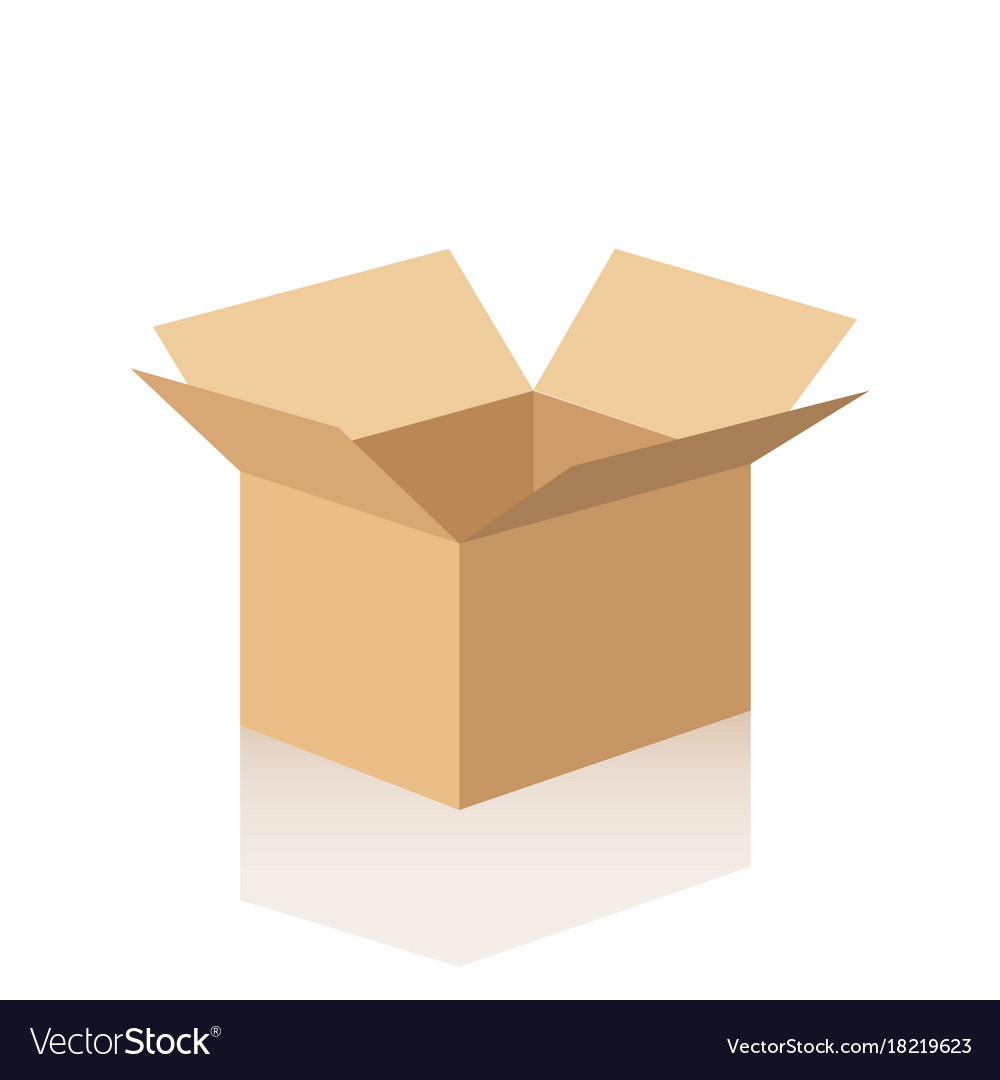 Open cardboard box with reflection