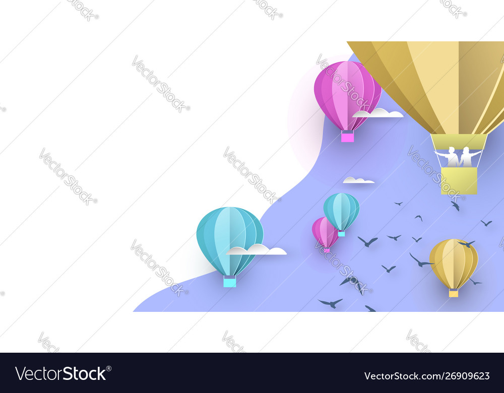 Paper hot air balloon white copy space background
