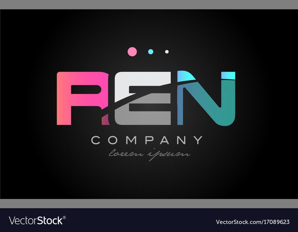 Ren r e n three letter logo icon design vector image