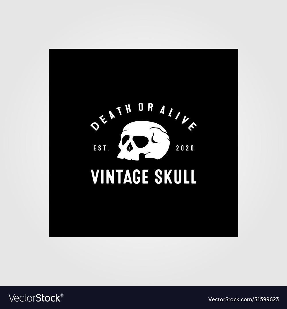 Vintage skull logo design