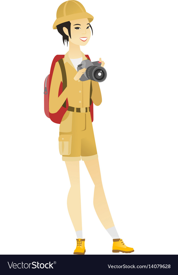 Asian nature photographer with digital camera vector image