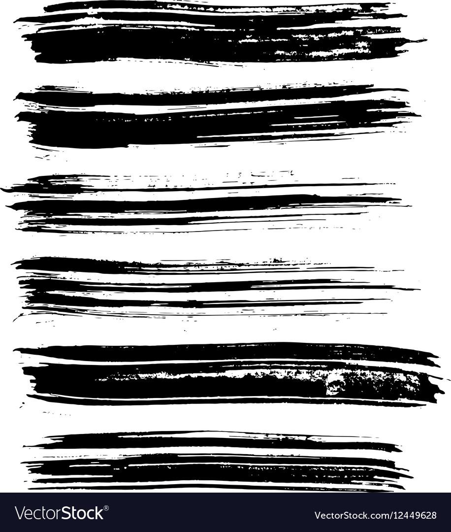 Black Ink Brush Strokes Royalty Free Vector Image