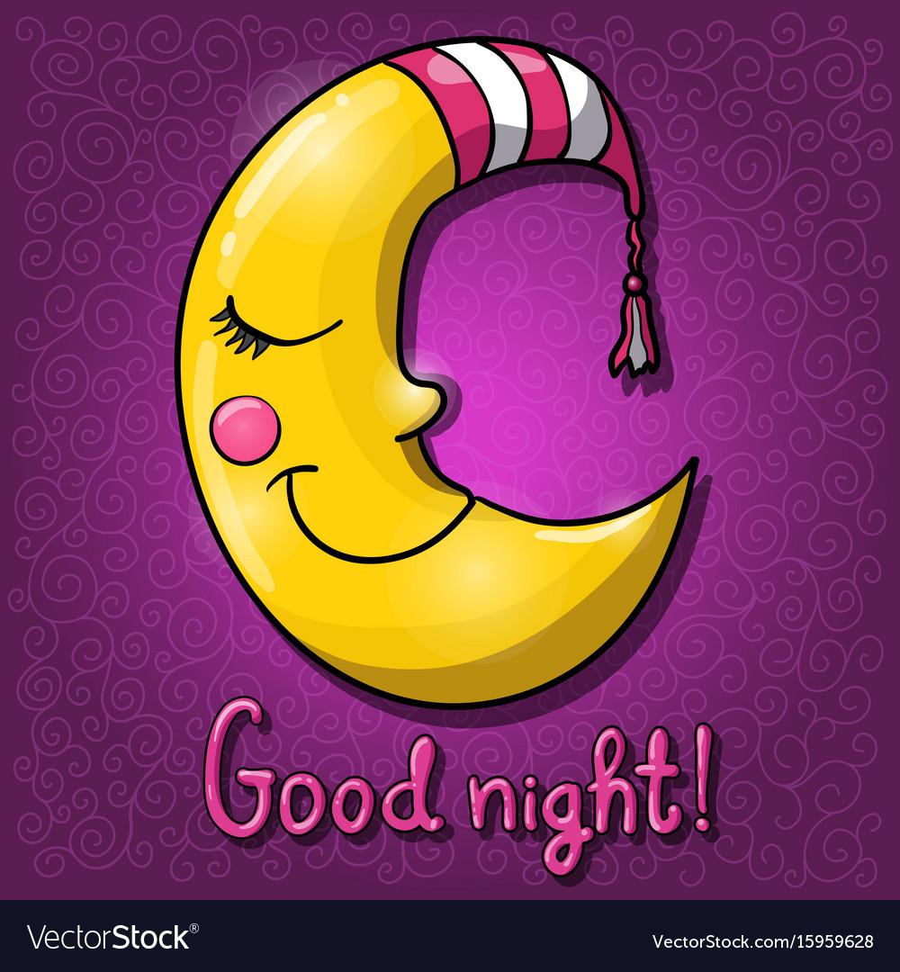 Cartoon half moon good night