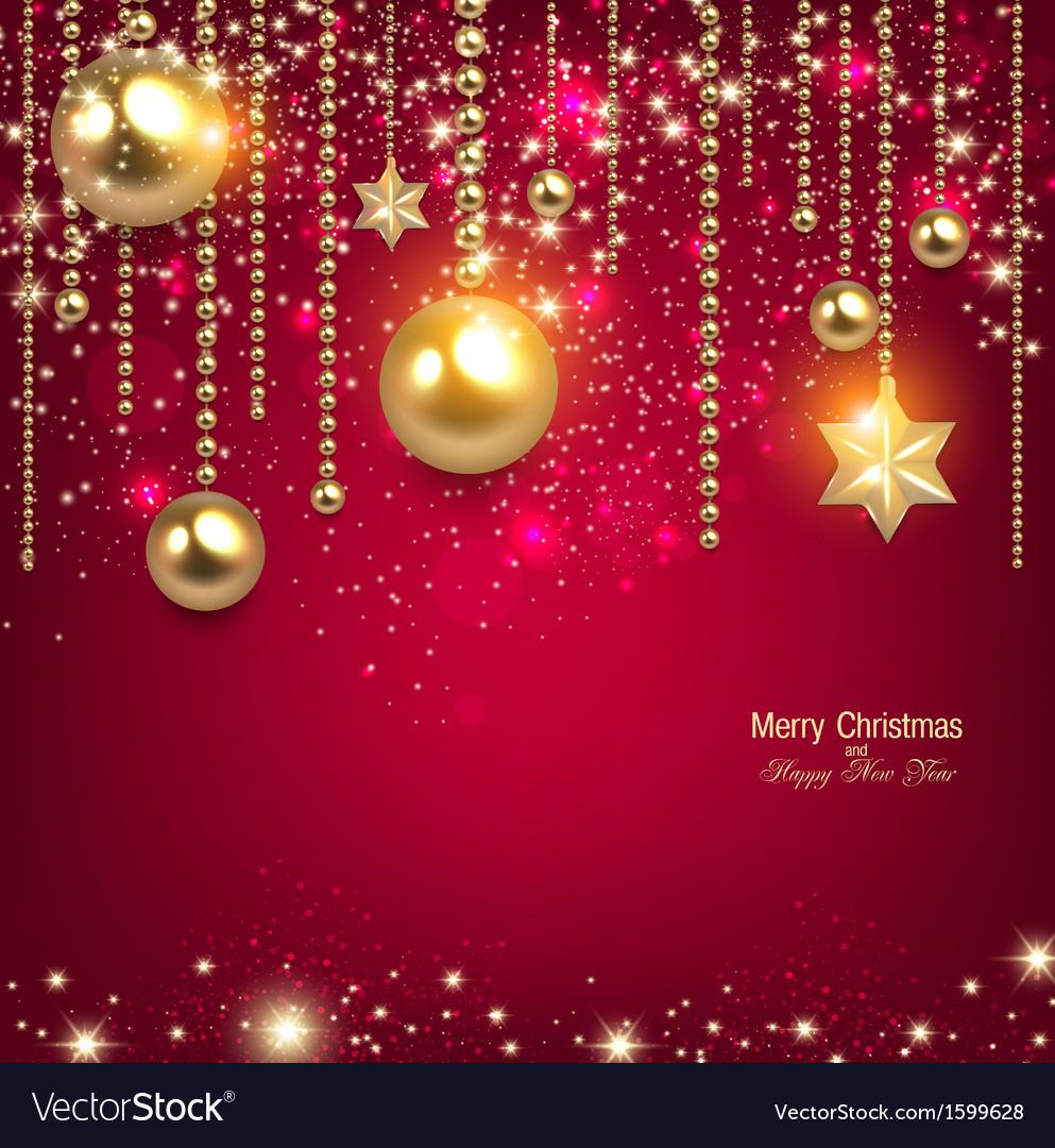 Elegant christmas background with golden baubles