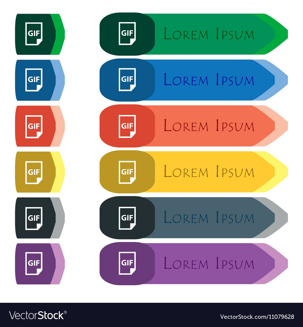 File GIF icon sign Set of colorful bright long