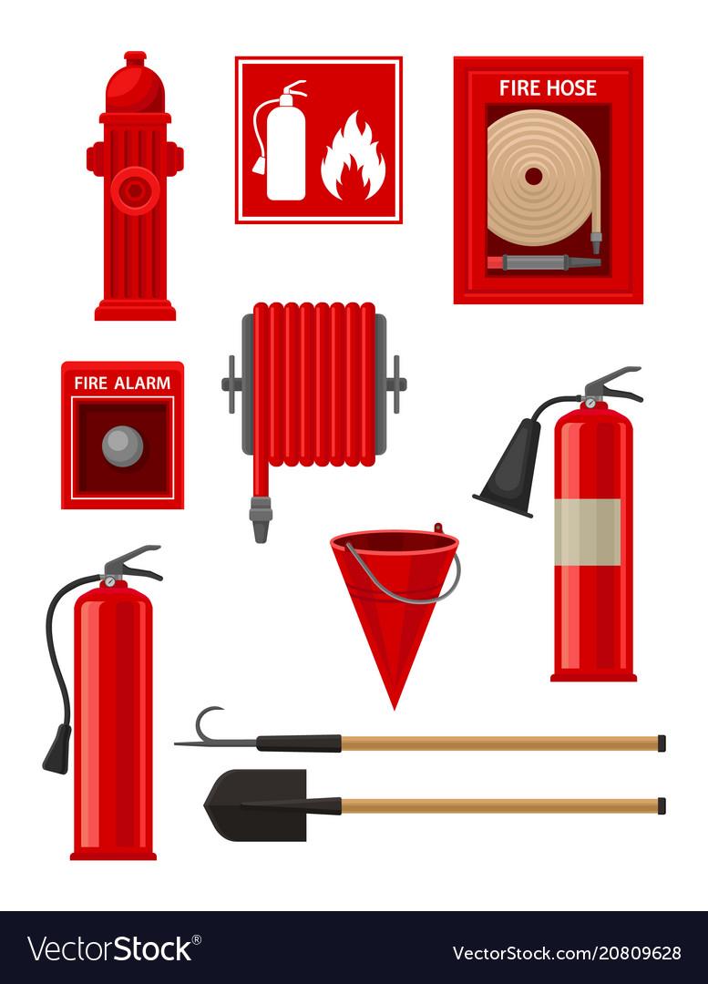 Flat set of firefighting items fireman