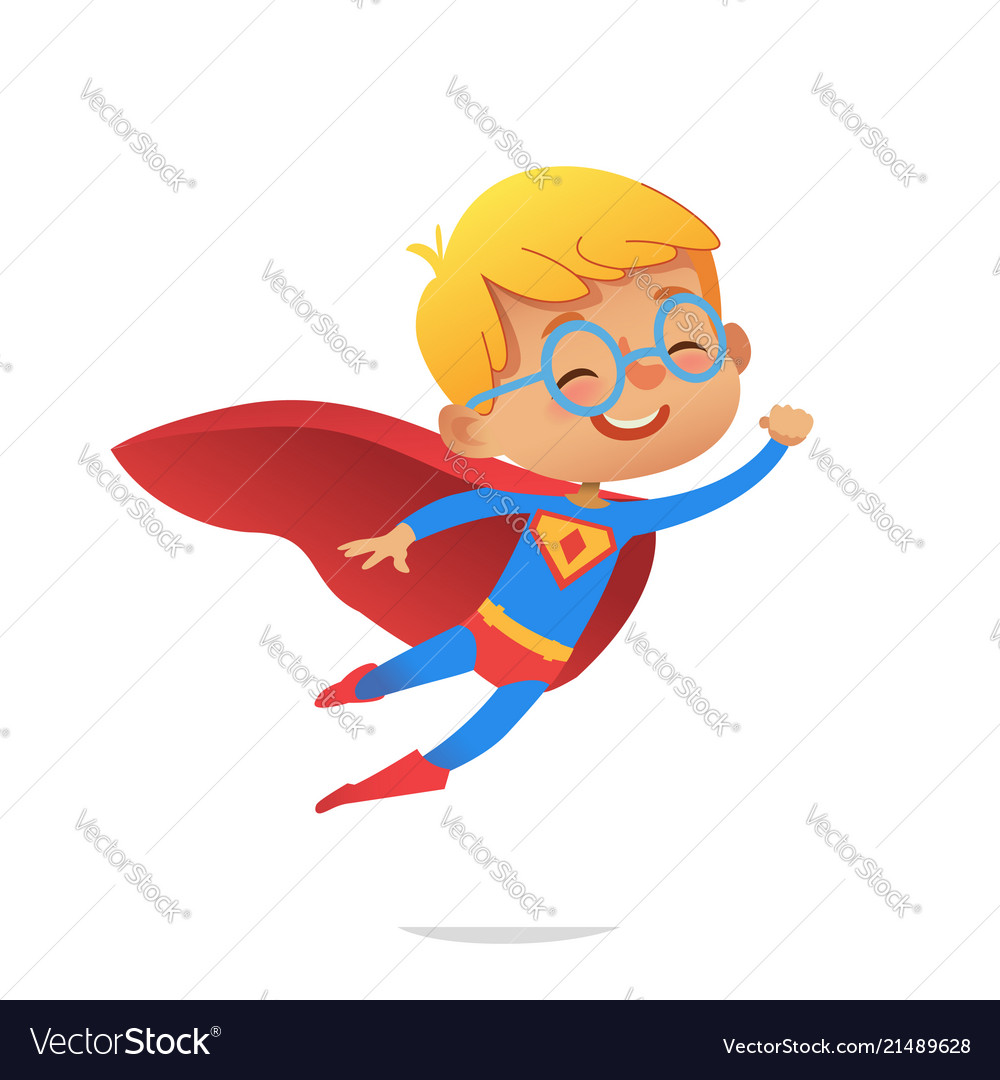 Flying boy wearing colorful costumes of