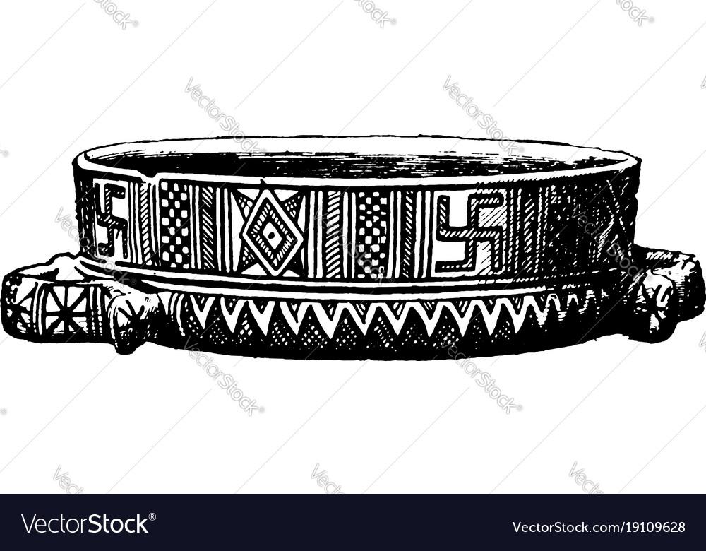 Greek Vase Is A Geometric Style Vintage Engraving Vector Image