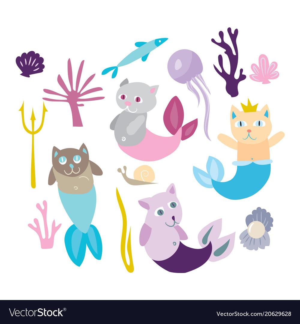 Little mermaid kitten collection kitty cat with