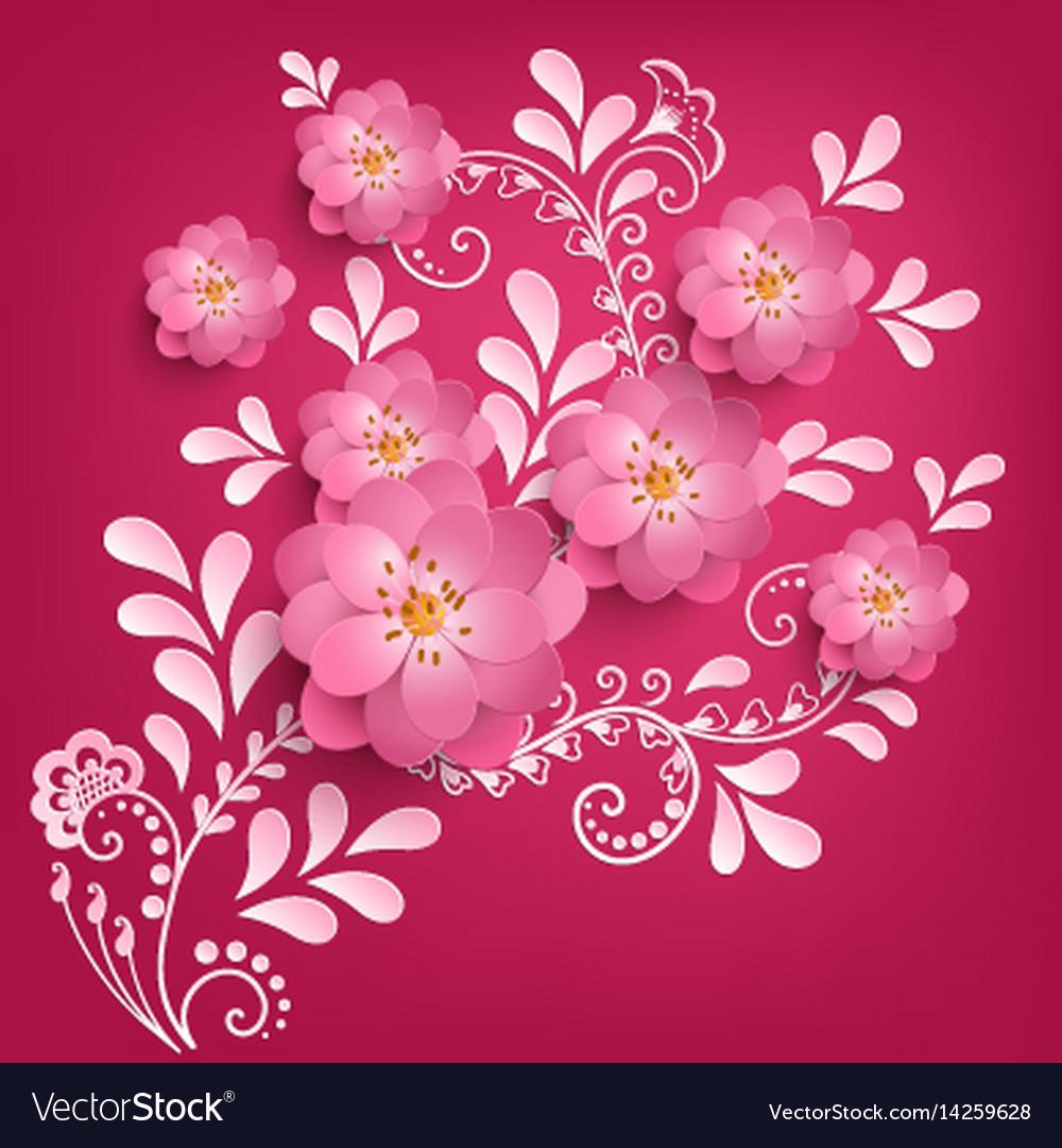 Paper Cut Sakura Flowers With Mehndi Royalty Free Vector
