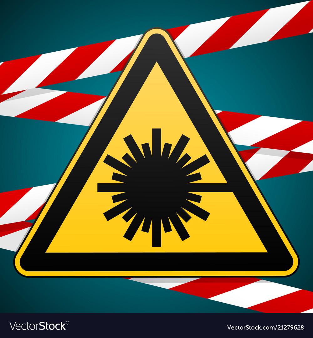 Safety Sign Caution Danger Laser Radiation Vector Image