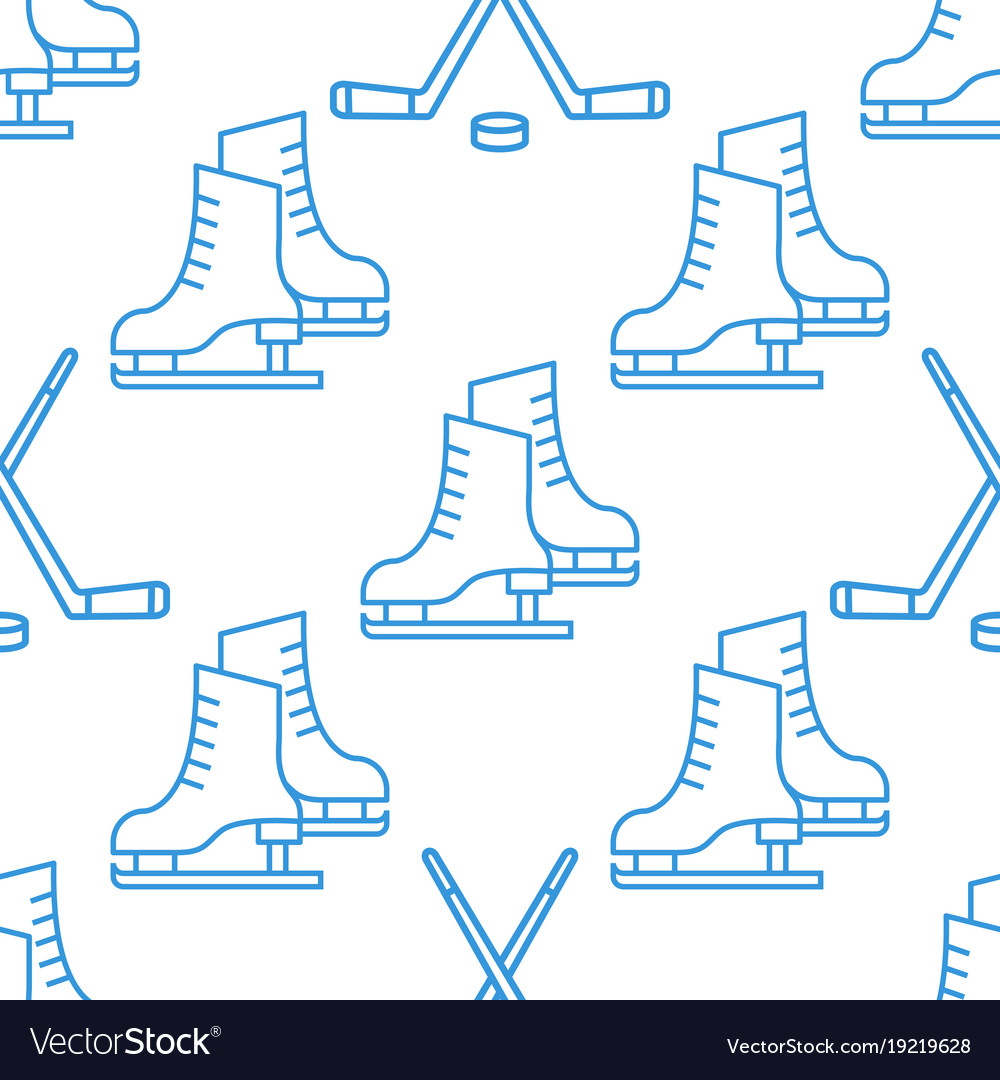 Seamless pattern with skates and clubs linear icon