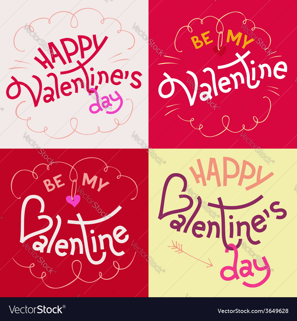 Valentines Day Hand Lettering Cards Royalty Free Vector